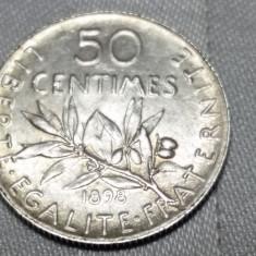 MONEDA ARGINT - FRANTA - 50 CENTIMES 1898, Europa