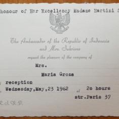Invitatie la dineu catre Mia Groza din partea ambasadorului Indoneziei, 1962 - Autograf