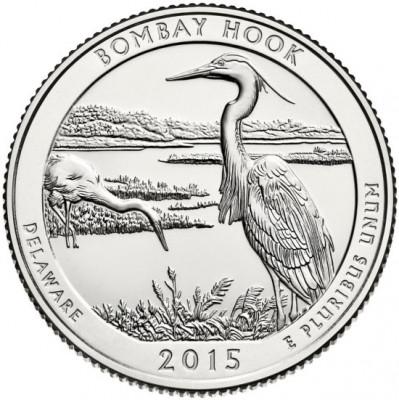 USA 25 cent 2013 P UNC Bombay Hook foto