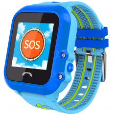Ceas GPS Copii, iUni Kid27, Touchscreen 1.22 inch, BT, Telefon incorporat, Buton SOS, Albastru + Spinner Titirez Cadou