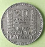 FRANTA 20 FRANCI FRANCS 1929 ARGINT STARE EXCELENTA CU PATINA, Europa