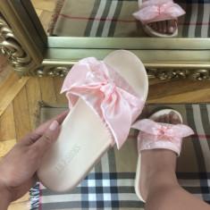 Papuci dama roz cu fundita marime 38, 40+CADOU, Culoare: Din imagine