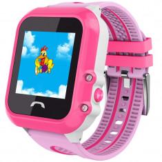 Ceas GPS Copii, iUni Kid27, Touchscreen 1.22 inch, BT, Telefon incorporat, Buton SOS, Roz + Spinner Titirez Cadou