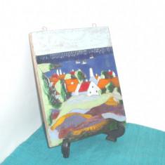 Tablou ceramica de studio UNICAT 3 emailat pictat manual - Nis Stougaard Svaneke