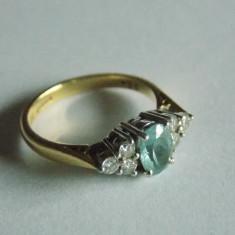 Inel din aur de 18k si platina cu diamante - Inel diamant, Culoare: Galben