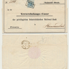 AUSTRIA 1851 plic bancar frumos Wien spre Sibiu timbru 9 kr prima emisiune