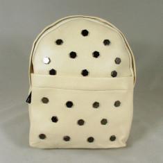 Rucsac/ghiozdan alb crem cu capse+CADOU, Din imagine, Piele ecologica