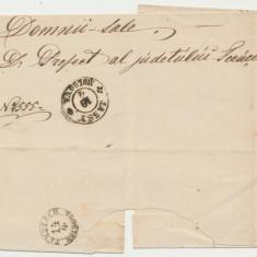 ROMANIA Moldova 1865 plic oficial stampile Iasi si Tecuci cu utilizare tarzie