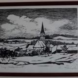 Peisaj cu biserică. Gravură în lemn - Litografie