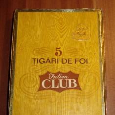 ( Cutie trabucuri )PACHET 5 TIGARI DE FOI - INTIM CLUB - ANII 70 - Pachet tigari