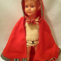 Papusa veche vintage Scufita Rosie, adusa din Germania, celuloid, 30cm, colectie