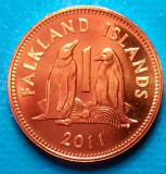 Falkland Islands 1 pence 2011  UNC pinguin