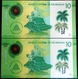 Lot/Set 2 Bancnote Serii Consecutive 10 Cordobas- NICARAGUA   *cod 589 UNC