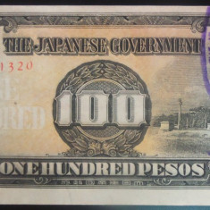 Bancnota istorica 100 Pesos FILIPINE INVAZIE JAPONEZA, anul 1942 *Cod 583 UNC - bancnota asia