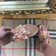 Papuci dama aurii marime 37, 38, 39, 40, 41+CADOU, Culoare: Nocciola, Din imagine