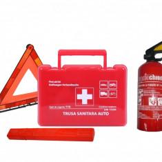 Kit Dotare Auto Obligatorie Cod Rutier Valabil 5 Ani: Trusa Stingator Triunghi - Trusa auto prim ajutor