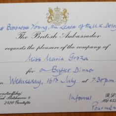 Invitatie a Ambasadorului Marii Britanii catre Mia Groza, fiica lui Petru Groza - Autograf
