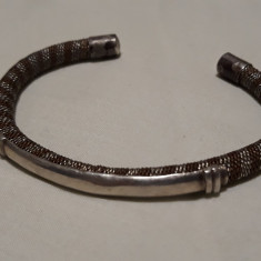 Rara Bratara argint TRIBALA AFGHANA din argint si alama VECHE reglabila VINTAGE