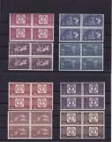 ROMANIA 1958  LP 463 CENTENARUL MARCII POSTALE  DANTELAT BLOCURI DE 4 TIMBRE MNH, Nestampilat