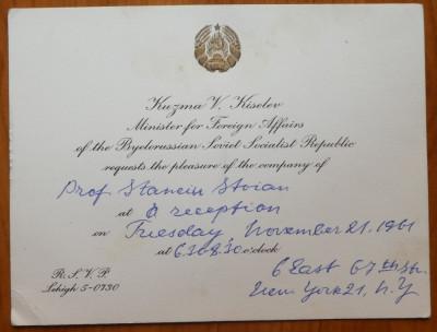 Invitatie a Ministrului Afacerilor Externe a R.S.S. Belarus catre Stanciu Stoian foto