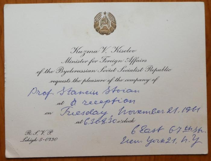 Invitatie a Ministrului Afacerilor Externe a R.S.S. Belarus catre Stanciu Stoian