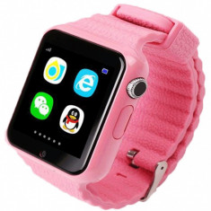 Ceas GPS Copii si Seniori iUni V8K, Pedometru, Touchscreen 1.54 inch, Bluetooth, Notificari, Camera, Pink + Spinner Cadou - Smartwatch