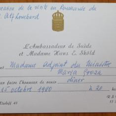 Invitatie la dineu a ambasad. Suediei catre Mia Groza, fiica lui Petru Groza - Autograf