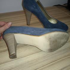 Pantofi piele intoarsa albastrii Bata - Pantof dama Bata, Culoare: Albastru, Marime: 35, Cu toc