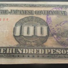 Bancnota istorica 100 Pesos FILIPINE INVAZIE JAPONEZA, anul 1942 *Cod 582 eroare - bancnota asia