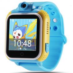 Ceas GPS Copii, iUni Kid730, 3G, DIGI Mobil, Touchscreen, GPS, LBS, Wi-Fi, Camera, buton SOS, Blue + Spinner Cadou