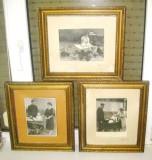 Set 3 Rame Foto familie vechi  Soti cu Copil cu Carut., Lemn, Dreptunghiular