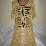 Blazer lung crosetat cu fir auriu Mar M/ L - Pulover dama, Culoare: Din imagine, Cardigan