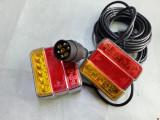 stop remorca cu cablu si priza pe baza de led smd -4 functi, sticla colorata