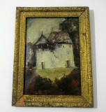 Casa cu pridvor/ ulei pe linoleum (?), nesemnat, Peisaje, Altul