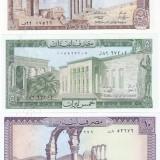 Bancnota Liban 1, 5 si 10 Livre - 1980/86 - P61-63 UNC ( set 3 bancnote ) - bancnota asia, An: 1986