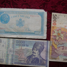 5000 LEI 1945 ; 1993 ; 1998. LOT - Bancnota romaneasca