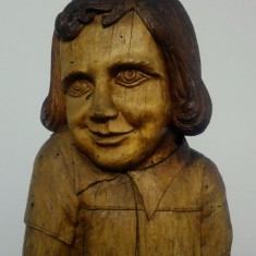 Bust copil/ sculptura in lemn, semnata