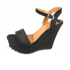 Sandale dama negre cu platforma marime 37, 38+CADOU, Culoare: Din imagine