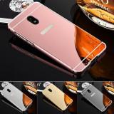 Husa / Bumper aluminiu +spate oglinda Samsung Galaxy J3 2017 / J5 2017 / J7 2017, Argintiu, Auriu, Negru, Roz