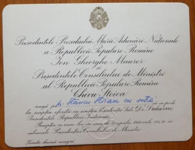 Invitatia lui Gheorghe Maurer si a lui Chivu Stoica catre Stancu Stoian ,Sukarno foto