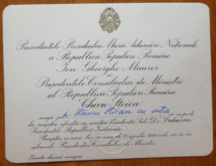 Invitatia lui Gheorghe Maurer si a lui Chivu Stoica catre Stancu Stoian ,Sukarno