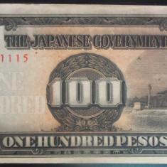 Bancnota istorica 100 Pesos FILIPINE INVAZIE JAPONEZA, anul 1942 *Cod 585 A.UNC - bancnota asia