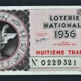Franta Bilet Loterie pt colectionari 100 Francs s 0229521 1936