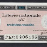 Franta Bilet Loterie pt colectionari 100 Francs s 0206136 1937