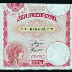 Franta Bilet Loterie pt colectionari 100 Francs s 046893 1934