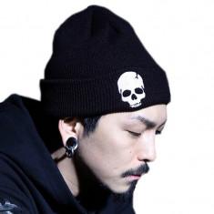 Caciula barbati fes toamna iarna Skull punk rock fashion - Fes Barbati, Marime: Marime universala, Culoare: Negru