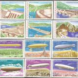 2 Serii MNH Complete Hidrocentrale - Dirijabile 1978 - Timbre Romania, Nestampilat