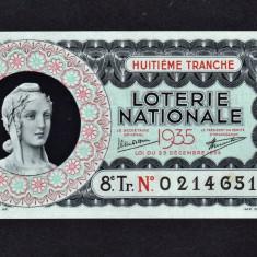 Franta Bilet Loterie pt colectionari 100 Francs s 0214651 1935