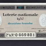 Franta Bilet Loterie pt colectionari 100 Francs s 0669821 1937