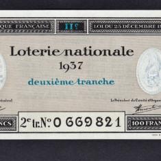 Franta Bilet Loterie pt colectionari 100 Francs s 0669821 1937 - Bilet Loterie Numismatica